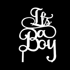 Cake Topper - Its a Boy - White