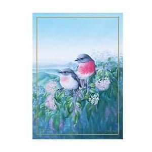 Birds of Australia 10 year Anniversary Tea Towel 50x70cm Rose Robin by Maxwell Williams